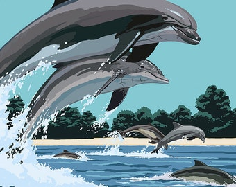 Ocean Isle - Calabash, North Carolina - Dolphins Jumping (Art Prints available in multiple sizes)