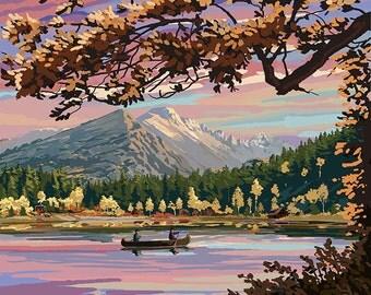 Colorado - Twilight Lake Scene (Art Prints available in multiple sizes)