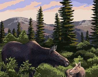 Maine - Moose and Baby Scene (Art Prints available in multiple sizes)