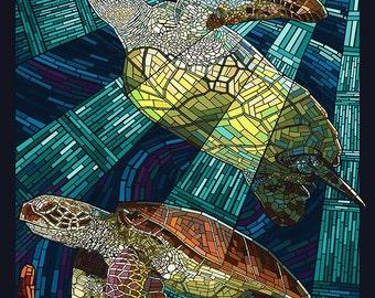 Sanibel Island, Florida - Sea Turtle Paper Mosaic (Art Prints available in multiple sizes)