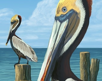 Seabrook Island, South Carolina - Pelicans (Art Prints available in multiple sizes)