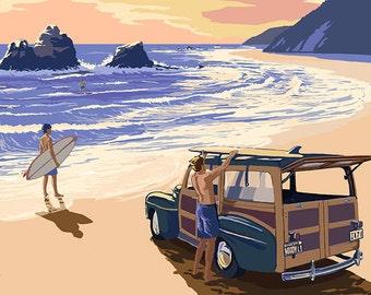 Laguna Beach, California - Woody on Beach (Art Prints available in multiple sizes)