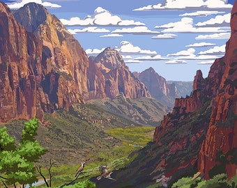 Zion National Park - Zion Canyon View (Art Prints available in multiple sizes)