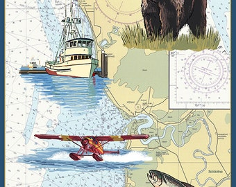 Soldotna, Alaska - Nautical Chart (Art Prints available in multiple sizes)
