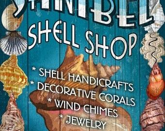 Shell Shop Vintage Sign - Sanibel, Florida (Art Prints available in multiple sizes)