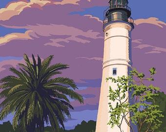 Key West Lighthouse, Florida Sunset Scene (Art Prints available in multiple sizes)