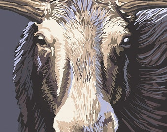 Ucluelet, BC, Canada - Moose Up Close (Art Prints available in multiple sizes)