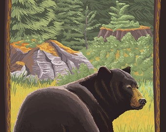 Black Bear in Forest - Ketchikan, Alaska (Art Prints available in multiple sizes)
