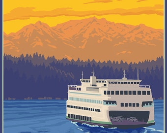 Ferry and Mountains - Anacortes, Washington (Art Prints available in multiple sizes)