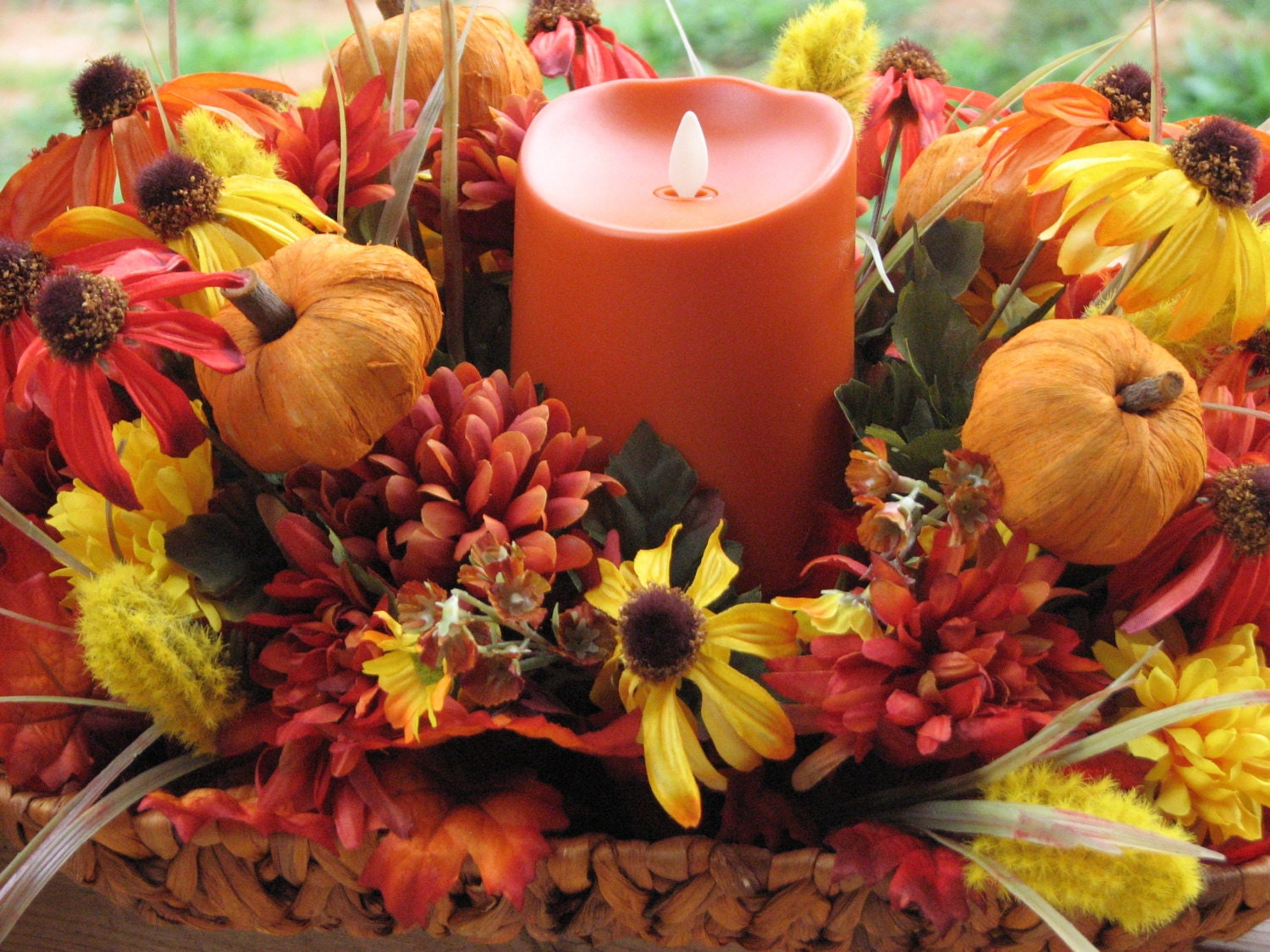 Large fall centerpiece basket full of silk flowers