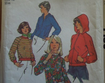 Simplicity 6490, Size 14, stretch knits only, UNCUT sewing pattern, Size 14, misses, womens, teens, jacket, top, craft supplies