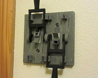 Frankenstein style dual light switch plate! Turn your room into a horror movie mad scientist lab! Shipping in late March 2016