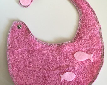 Reversible bib for toddler or girl/baby double use