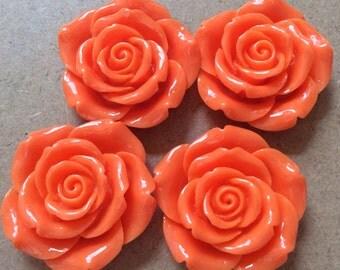 2 pcs 43 mm Dark Orange Rose,Orange Cabochon Flowers.Dark Orange Rose flower,big flower,flat back flower,orange rose cabochon,rose flower