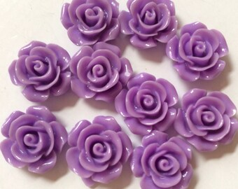 10 pcs 15 mm Purple rose cabochon Flower,violet rose cabochon rose,15 mm Purple flower,purple cabochon flower,flower kit,purple cabochon