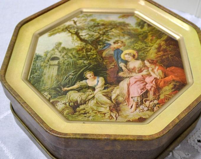 Vintage Sunshine Biscuit Tin Francoise Boucher Rococo Sewing Button Box Panchosporch