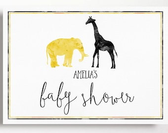 Baby Shower Backdrop Party Sign Black Yelow Watercolour Jungle Animals Elephant Giraffe Modern Script Gender Neutral Sprinkle 20x32 Inches