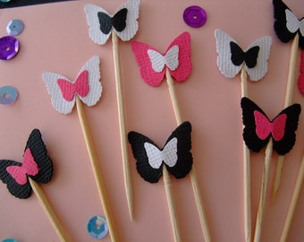 Party Toothpicks, Double Butterfly, Food Pick, Cupcake Topper, Party Decoration, Butterfly, Sandwich Topper (Set of 12)