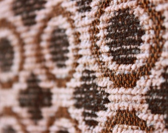 Vintage fabric nos upholstery curtain fabric brown cream unused 120 cm x 260 cm (47.2'' x 102.4'')
