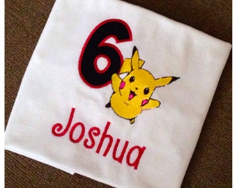 Pokemon birthday shirt, personalized with age and name