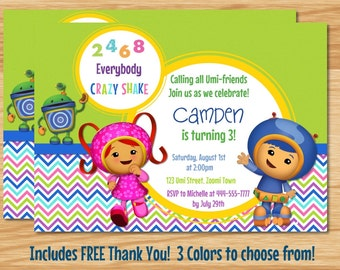 Team Umizoomi Birthday Invitation, Team Umizoomi, Umizoomi Birthday, Milli Invitation, Geo Invitation, Bot Invitation