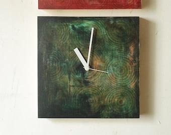 Wall Clock 9'x9' / No.15 / modern wood clock / green