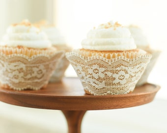 Real Burlap White Lace Cupcake Wrappers / Liners - wedding, rustic, vintage, tea party, birthday, bridal shower, baby, bachelorette