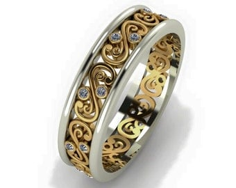 two tone filigree band with cz in sterling silver gold plated