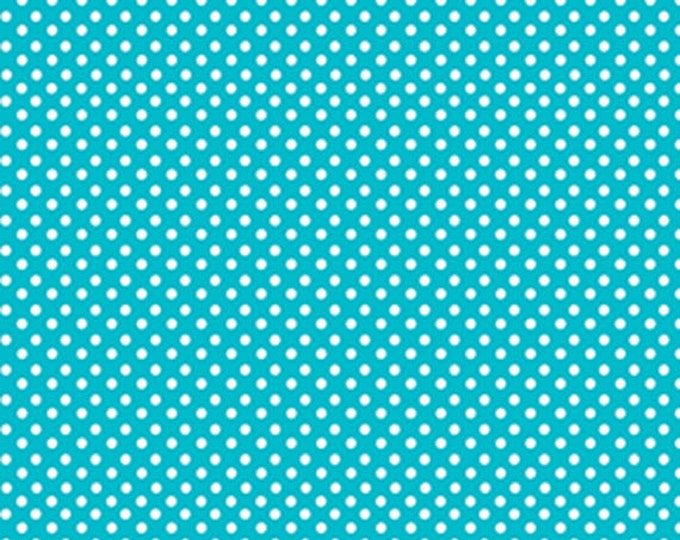 Half Yard Green Farms - On the Dot in Aqua Blue - Cotton Quilt Fabric - by Kanvas for Benartex Fabrics 5174-84 (W2892)
