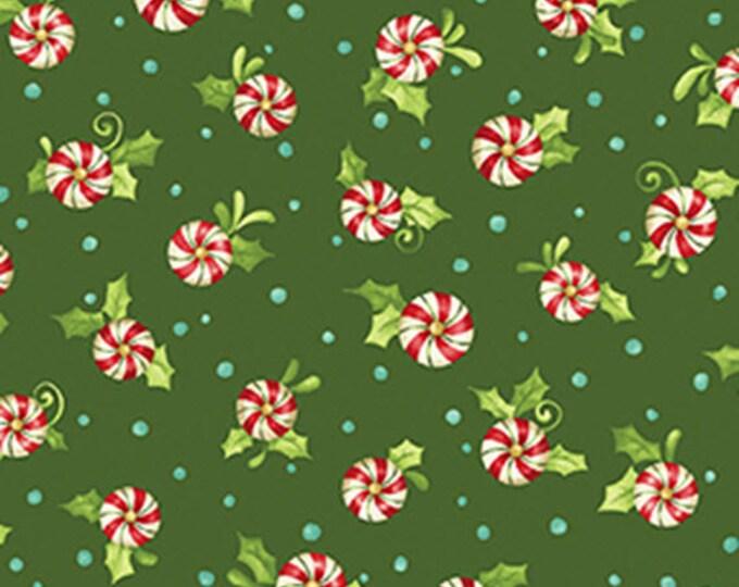 One Yard Santa's Here - Candy Swirls in Forest Green - Cotton Quilt Fabric - Inspired by Nancy Halvorsen for Benartex - 6078-40 (W2992)