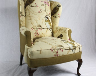 Sold- can replicate Linen Branch Bird Floral Fabric and Burlap Wing Back Chair Accent Chair Pink Merlot Tan Cream Brown Turquoise