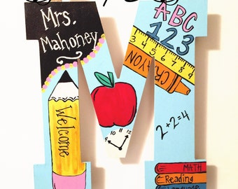 Teacher door hanger, teacher wreath, door hanger, can do MOST initials