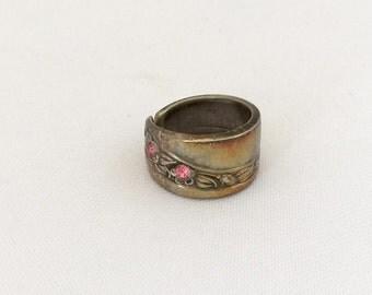 Vintage Sterling Silver Pink Rhinestone Adjustable Band Ring Size 6.5