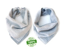 Organic Bandana Bib - Premium 100% Organic Cotton Muslin - Blue Gray - Reversible - One Size - Adjustable Snaps - Luxuriously Soft