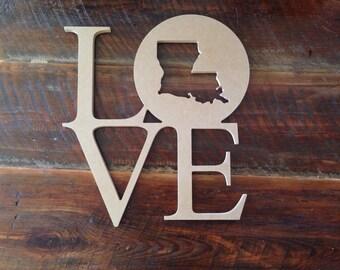 Wood Louisiana Love door/wall hanger