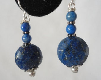 Excellent Faceted Lapis Silver Plated Earrings******.