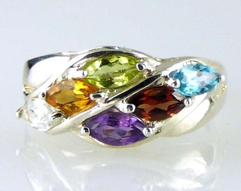 Natural Multi-Color Marquise Gemstone Ring 925 SS Sterling Silver