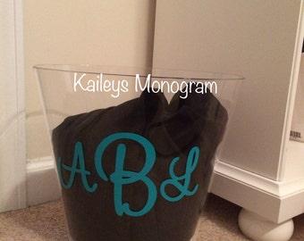 Personalized Acrylic Trash Can Waste Basket Monogrammed Trash Can Vinyl Monogram Preppy Kaileysmonogram Kaileys Monogram Housewarming Gift