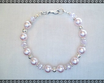 pink bracelet, pink crystal, swarovski,  swarovski bracelet, light pink, rose, pink, baby pink, silver