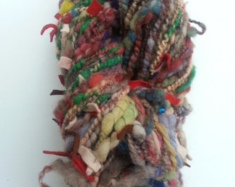 "handspun yarn, art yarn, super bulky, ""Earth Rainbow"" yarn"