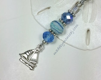 Ceiling Fan and Light Pull Set with Sail Boat Charm.  Kids Room Decor.  Boat Lover Gift Idea. Beach Housewarming Gift. Blue Decor.