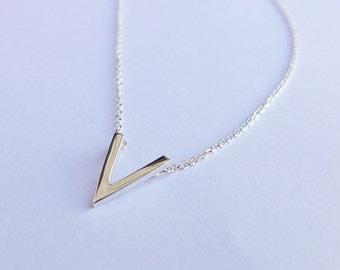Solid Sterling Silver V Pendant Necklace