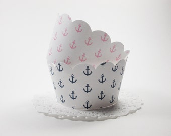 Nautical Cupcake Wrappers, Cupcake Holders, Anchors, Navy & Pink, All Occasion, Party Decoration, Set of 12, Standard Size