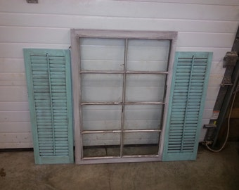 Set of 2 Wood Shutters - Teal Antique Distressed