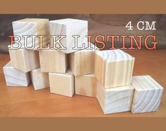 Wooden block craft blanks set of 3 5 or 12 blocks 4cm for Large wooden blocks for crafts