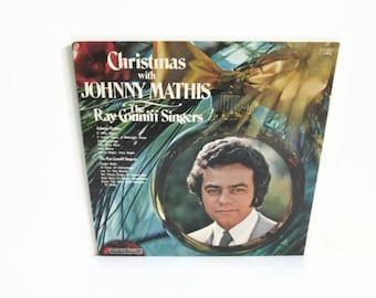 Vinyl Record Album, Christmas Album Johnny Mathis LP, Ray Conniff Singers, 1972 Columbia Records, Easy Listening Music, 12 Days Of Christmas