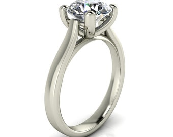 Juliette Forever One Moissanite 4 Prong Opposite Gallery Cathedral Solitaire Ring