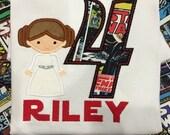 Leia  Star War Princess monogram Name Birthday number shirt custom embroidery applique