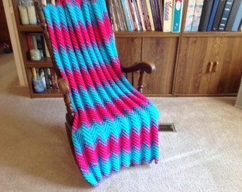 Shocking Pink & Turquoise Afghan/Throw/Blanket-Hand Crocheted-Very bright colors-Machine Wash-Teen Gift-Winter-Free Shipping-Made in the USA