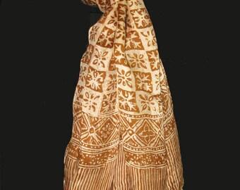 "Elegant Silk Batik Scarf/shawl Handmade from Java Indonesia 62"" x 42"""